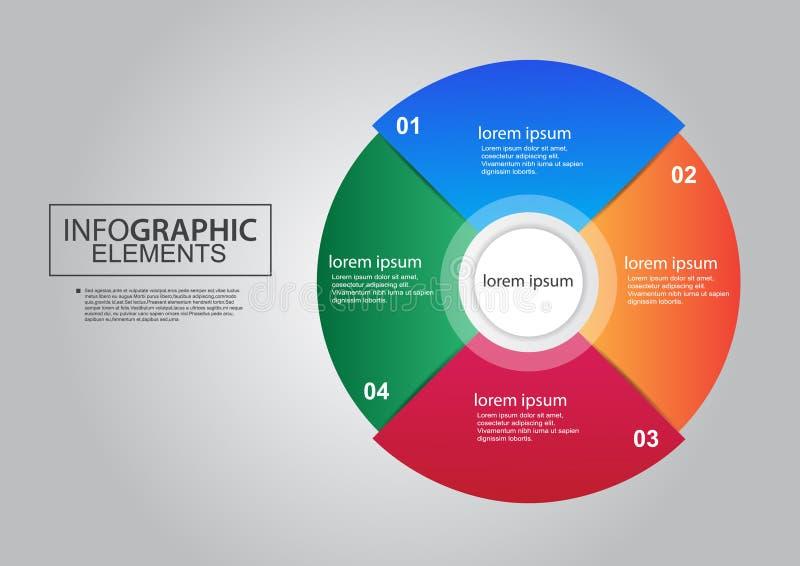 Color infographic del diseño del vector de los elementos de la carta de la esfera económica stock de ilustración