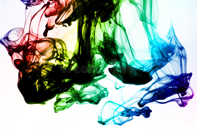 Color ink. Ink in water on white background royalty free stock photography