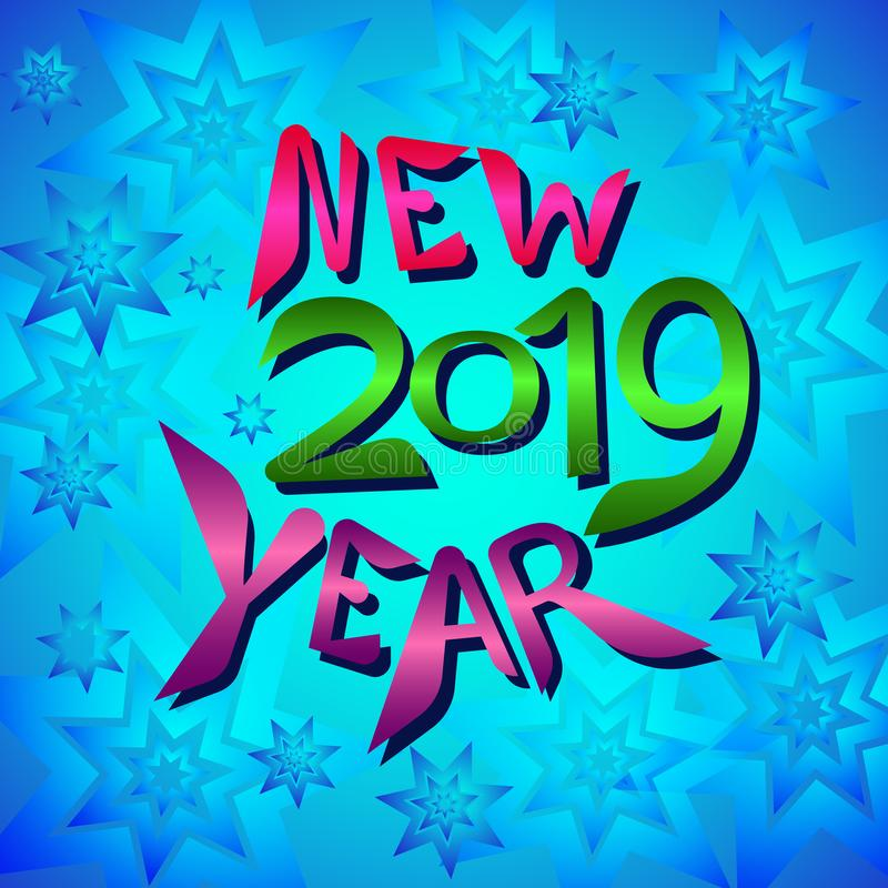 Color inscription New year on a blue background with stars. stock illustration