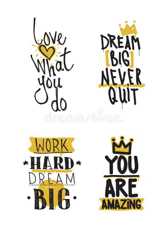 Color inspirational vector illustration set, motivational quotes. Typographic poster. Thin marker hand drawn line icon for web, mobile icon, elements, logos vector illustration