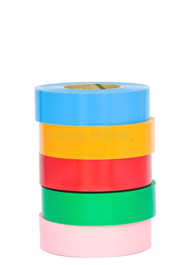 Color insulation tape. On white background royalty free stock photography