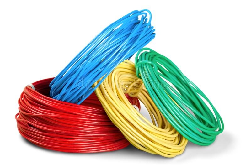 Multicolored computer cables isolated on white royalty free stock photo