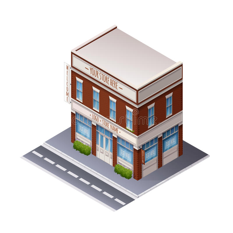 Color Isometric Building stock illustration