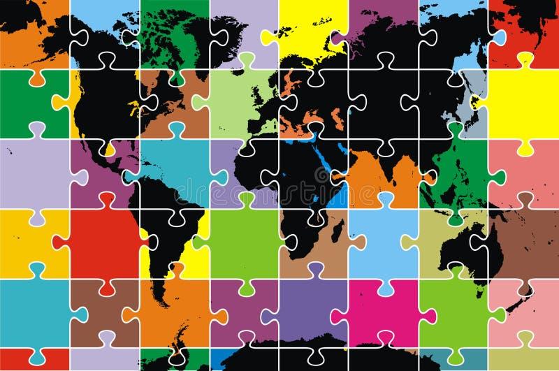 Världen kartlägger som pussel stock illustrationer