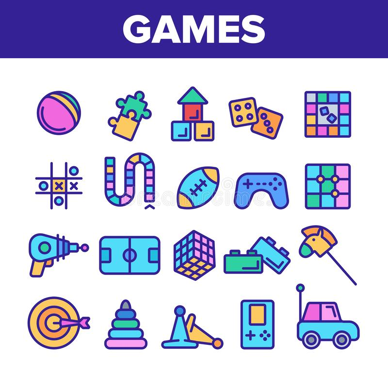 Color Kids Games Vector Thin Line Icons Set royalty free illustration