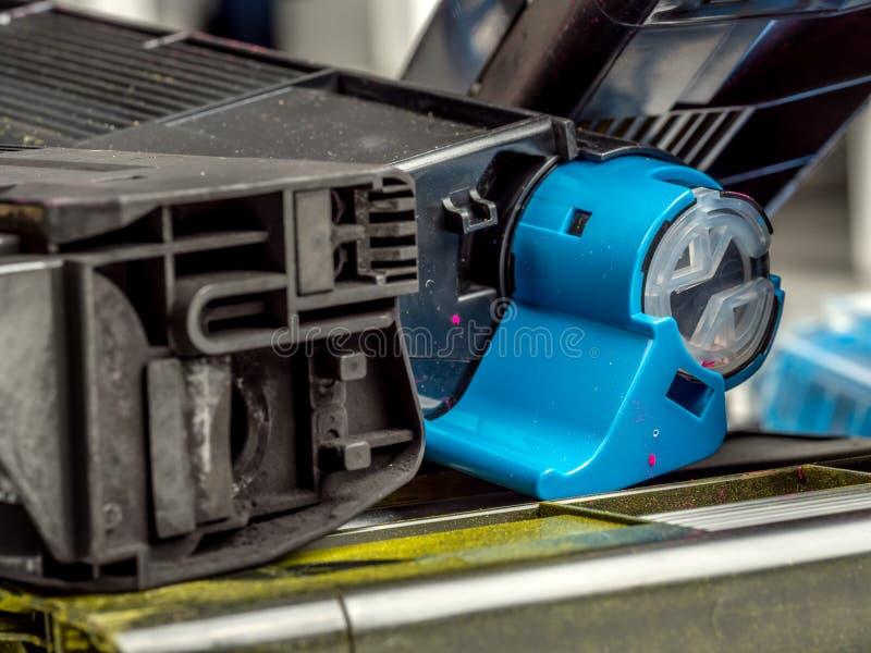 Color laser printer toner cartridges royalty free stock photo