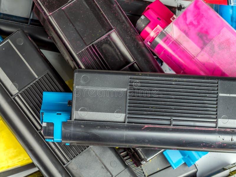 Color laser printer toner cartridges royalty free stock photography