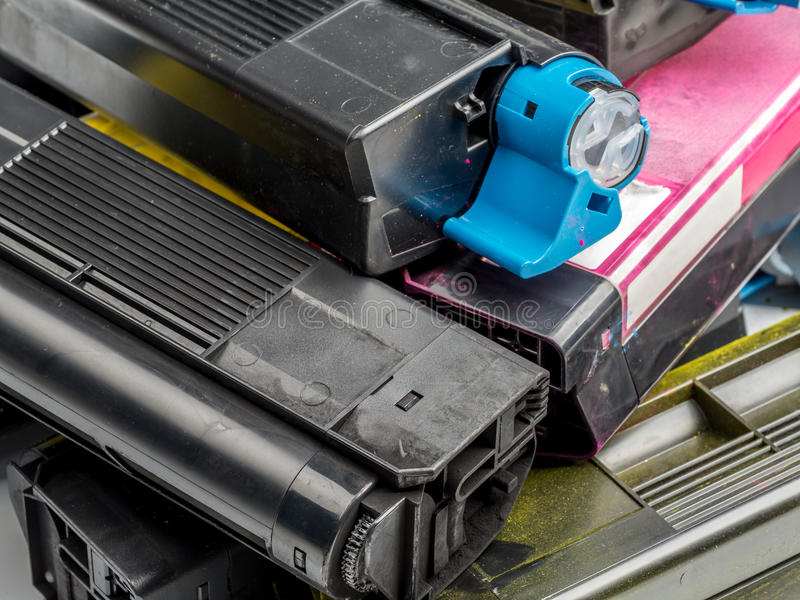 Color laser printer toner cartridges royalty free stock photos