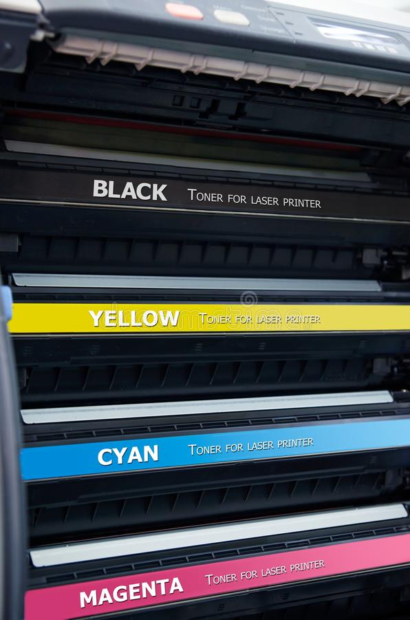 Color laser printer toners cartridges stock images