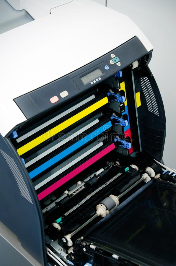 Color laser printer toners cartridges royalty free stock photography