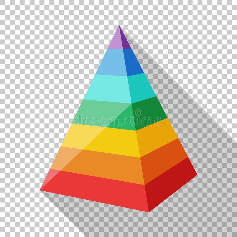 Color layered pyramid in flat style on transparent background. Color layered pyramid in flat style with long shadow on transparent background royalty free illustration