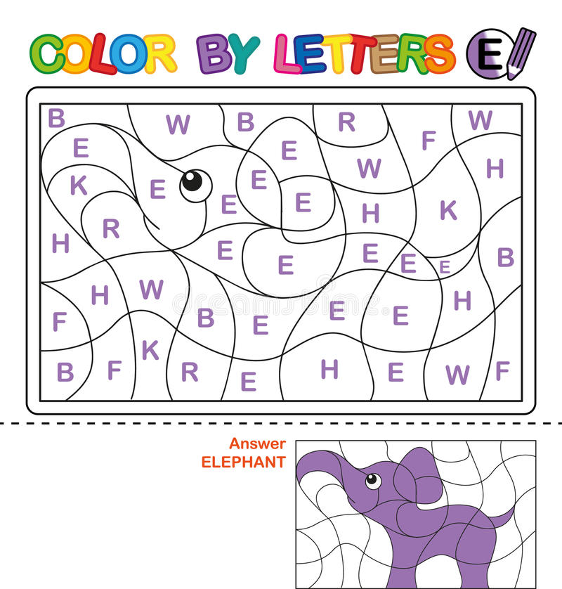 Color By Letter Puzzle For Children Elephant Stock