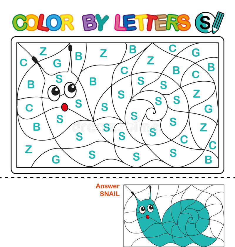 Download Color By Letter Puzzle For Children Snail Stock Vector