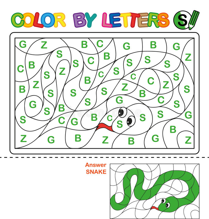 Download Color By Letter Puzzle For Children Snake Stock Vector