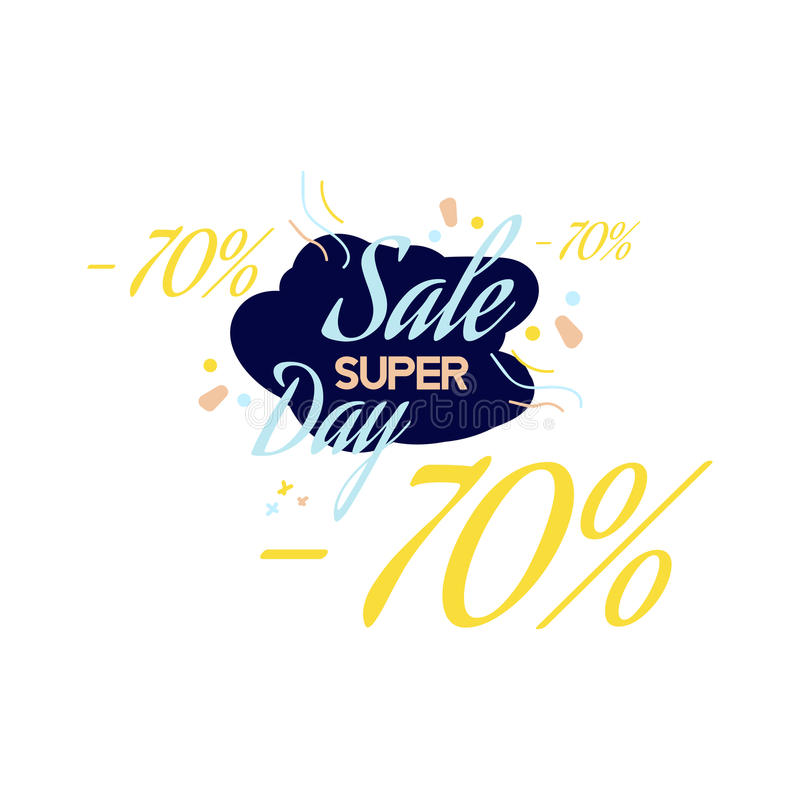 Color lettering for special sale offer sign, up to 70 percent off. Flat illustration EPS 10 stock illustration