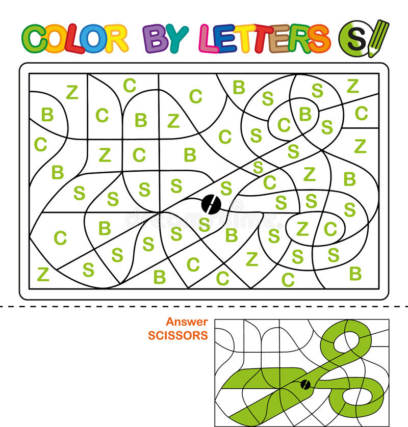 Color by letters. Learning the capital letters of the alphabet. Puzzle for children. Letter S. Scissors. Preschool Education. stock illustration