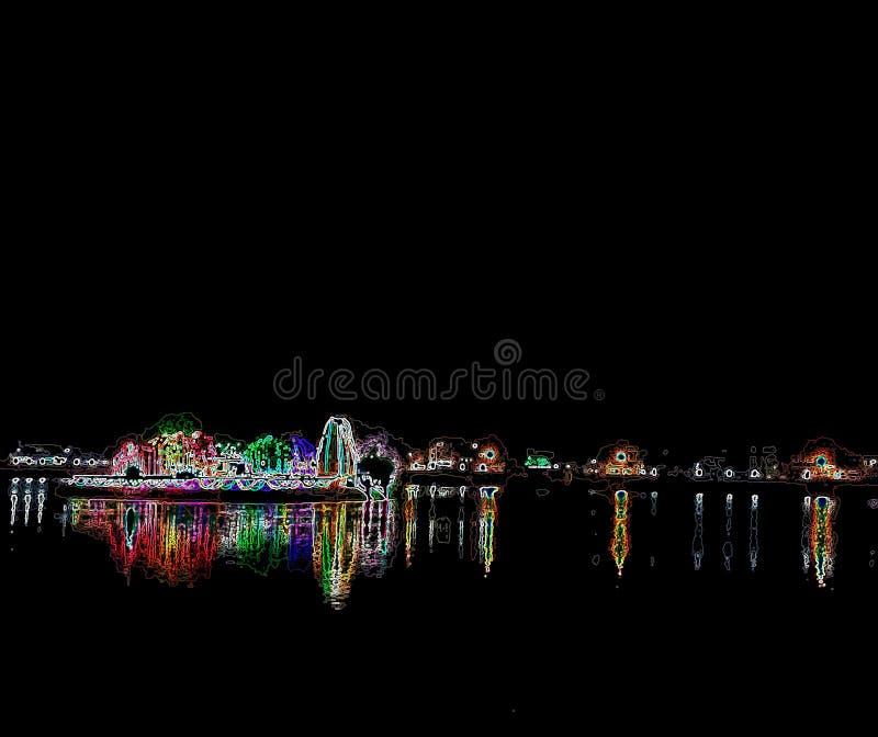 Color light in dark night stock image