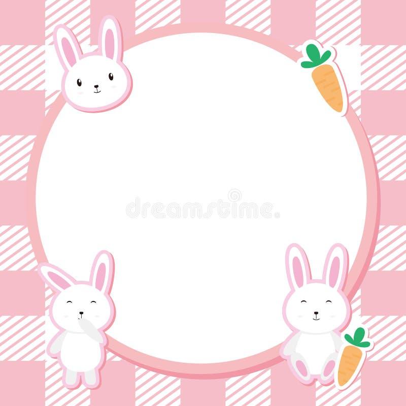 Color lindo de Bunny Frame Vector With Pink stock de ilustración