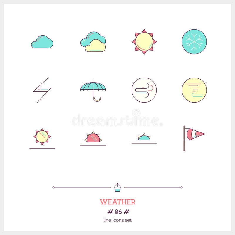 Color line Abstract icons set of local current weather condition. S. Including temperature, rain, wind speed, cloud, atmospheric pressure, sun rises, sunset vector illustration