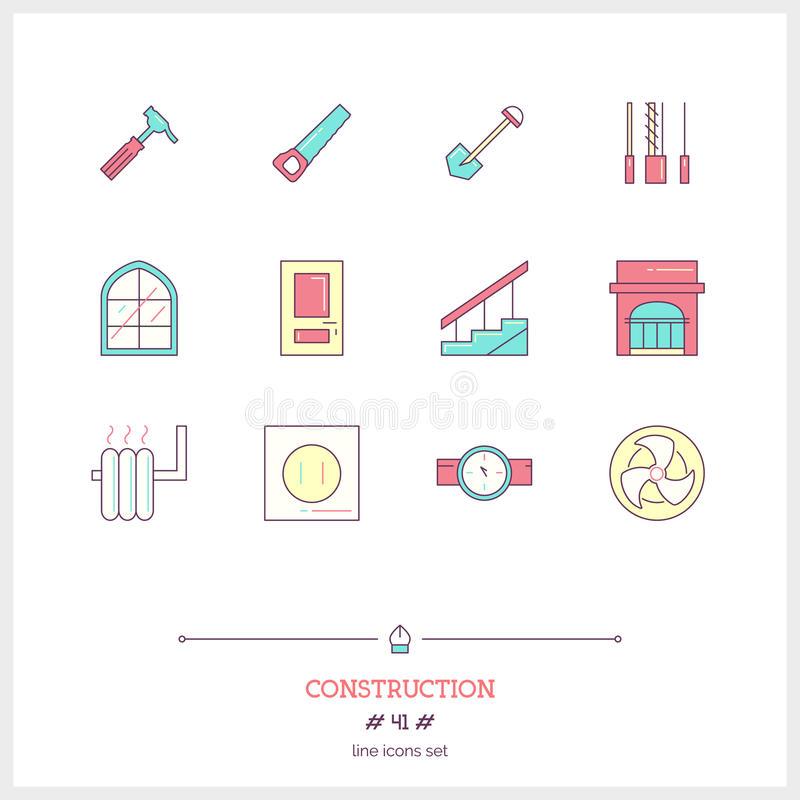 Color line icon set of Construction objects. Construction tools, interior design objects. royalty free illustration