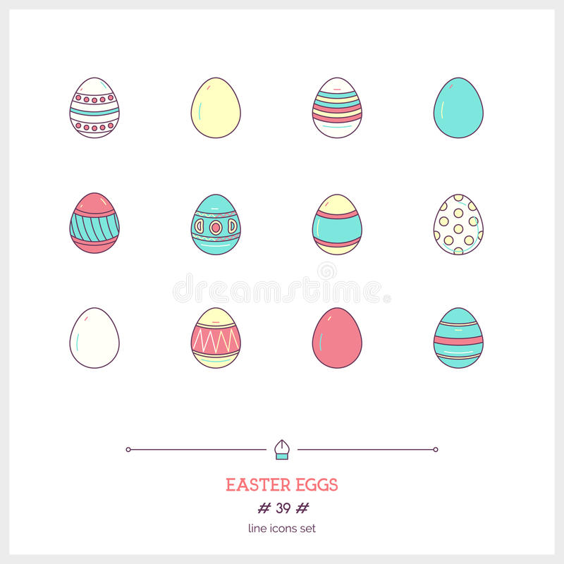Color line icon set of holiday easter eggs objects. Logo icons v stock illustration