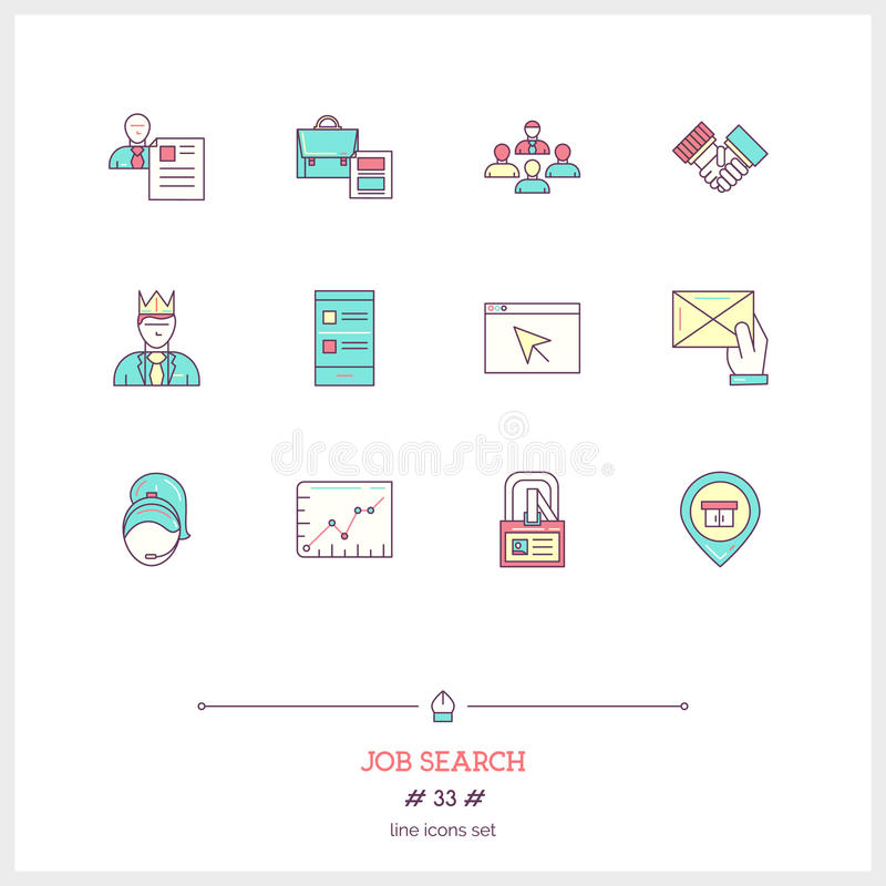 Color line icon set of job search and Human resources objects, t stock illustration