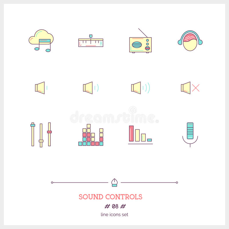 Color line icon set of modern minimalistic media player user int royalty free illustration