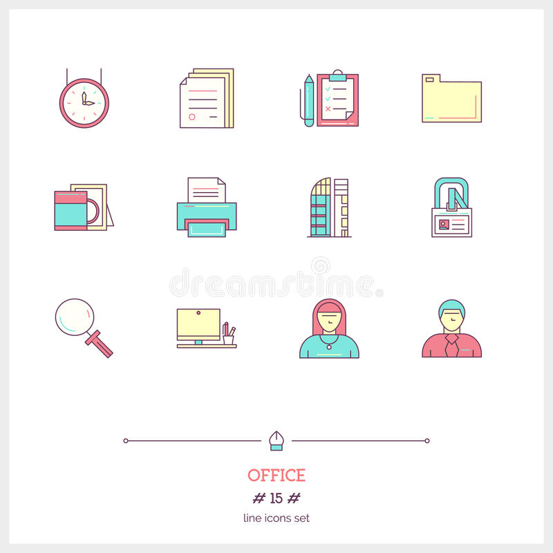 Color line icon set of office equipment, objects and tools elements. Time management logo icons vector illustration vector illustration