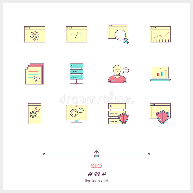 Color line icon set of SEO elements, big data center graph, internet protection password access, technical instrument. stock illustration