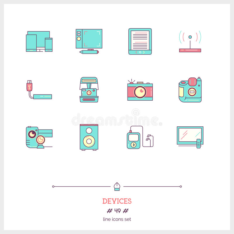 Color line icon set of technology devices icons set. Technology stock illustration