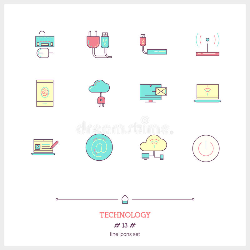 Color line icon set of technology equipment, process, objects an. D tools elements. Cloud technology services, global connection, network, internet data stock illustration