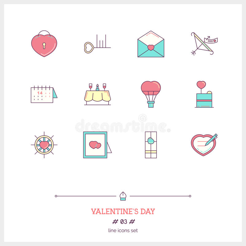 Color line icon set of valentine's day and marriage objects and royalty free illustration