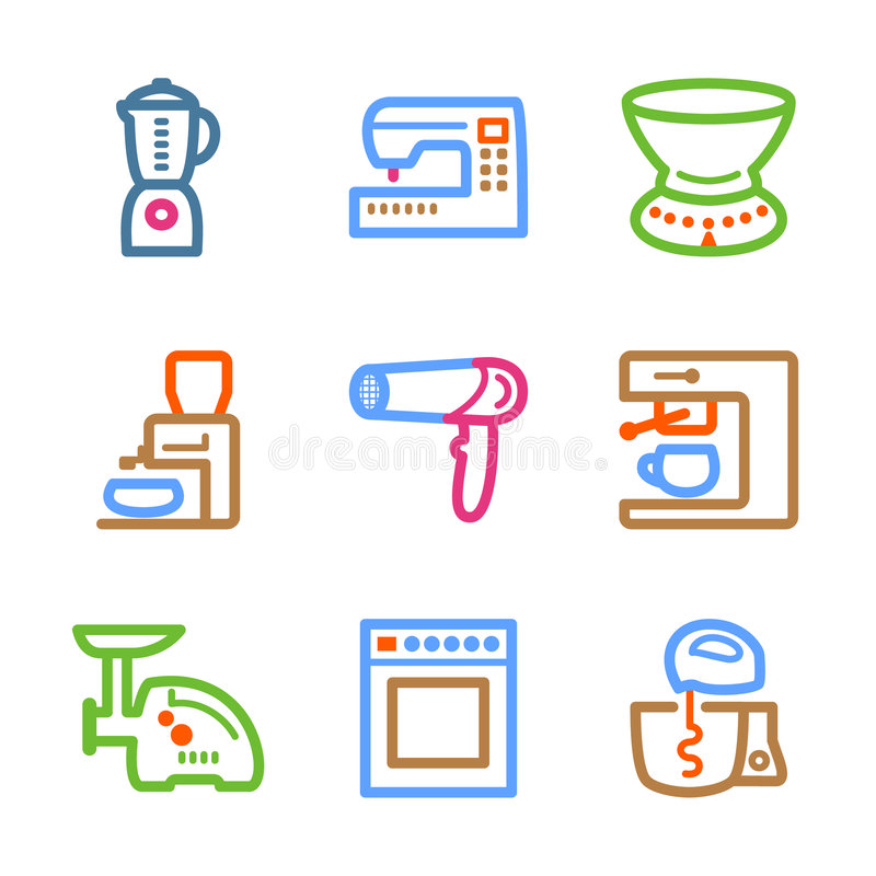 Download Color line set 19 stock vector. Image of household, computer - 7446822