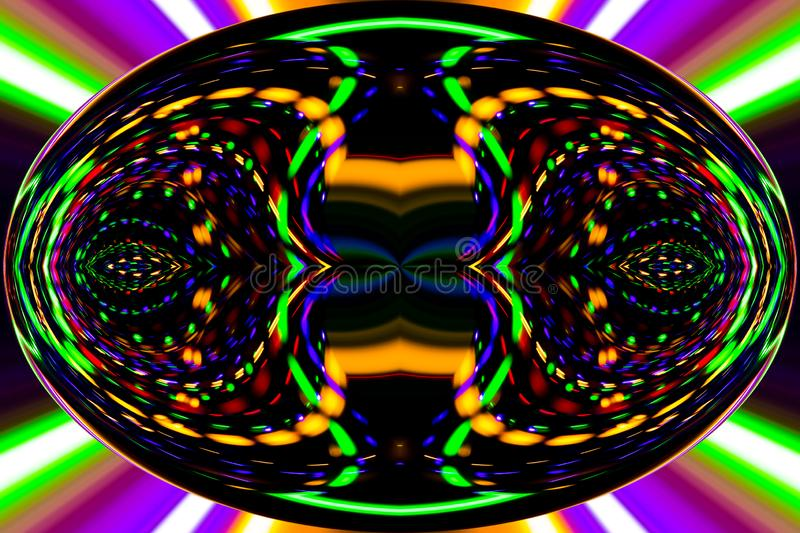 Color lines and curves creates fantastic elipse image. Abstract painting - psychedelic pictures vector illustration