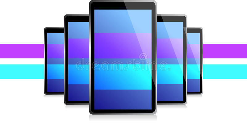Color Lines Set Of Electronic Tablets Illustration Stock Image