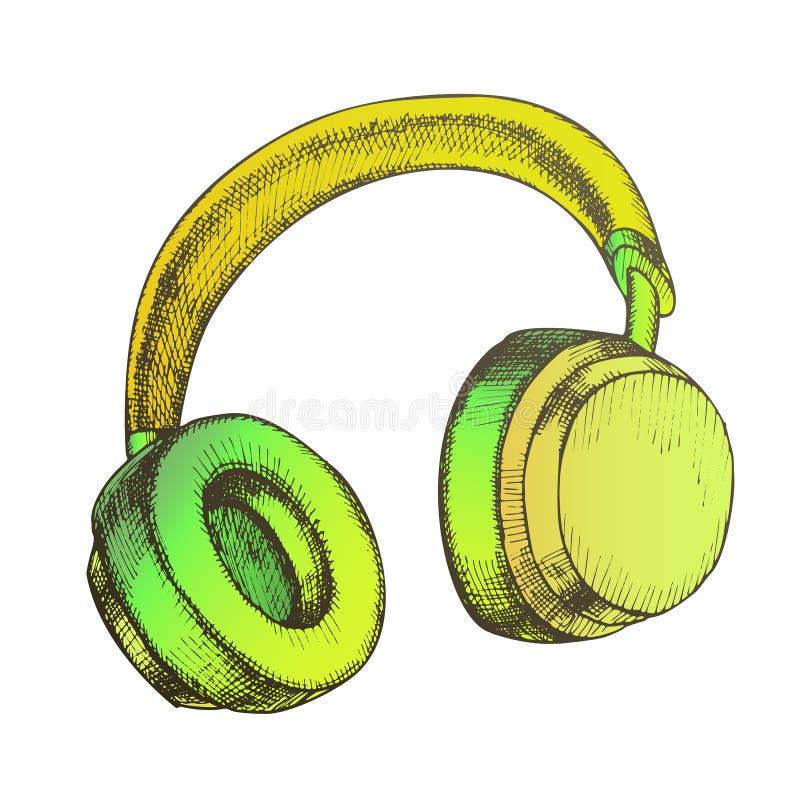 Color Listening Audio Device Wireless Headphones Vector stock illustration