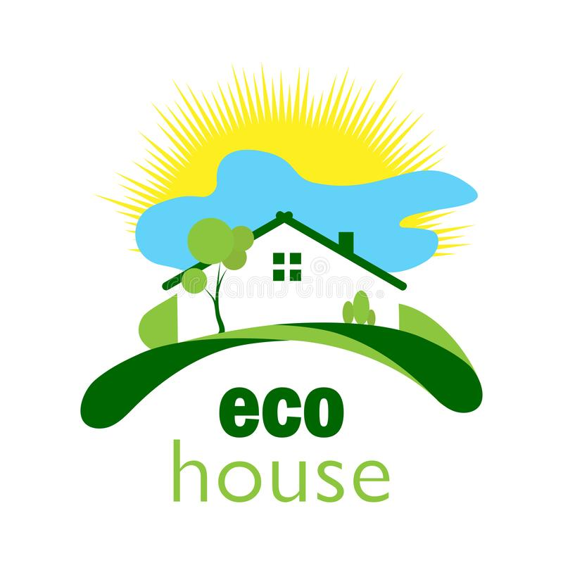 Green ecological house on a green lawn against the background of. Color logo for a green ecological house on a green lawn with a background of sun and clouds royalty free illustration