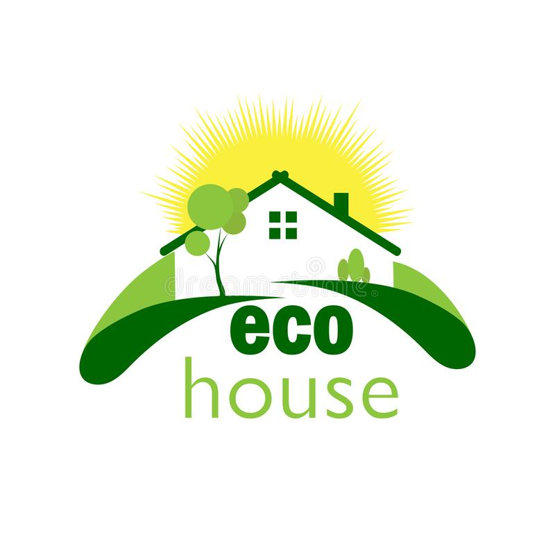 Green ecological house on a green lawn against the background of. Color logo of a green ecological house on a green lawn on the background of the sun stock illustration