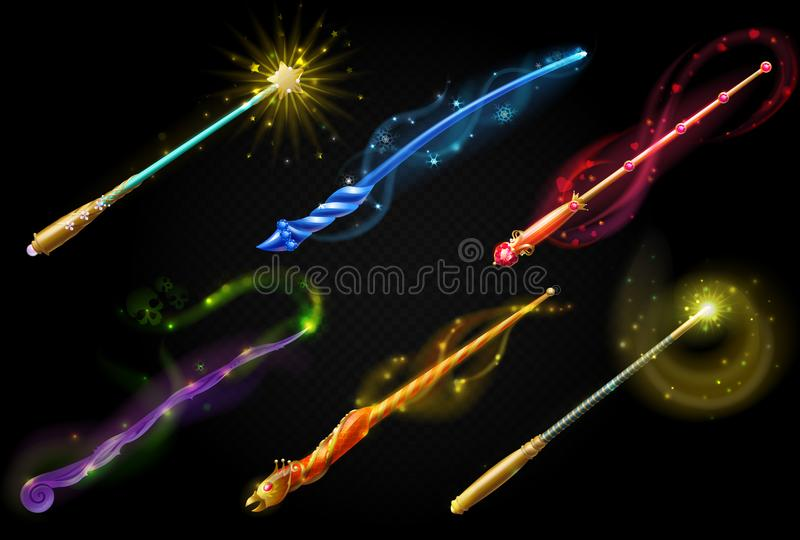 Color magic wands, fairy objects. vector illustration