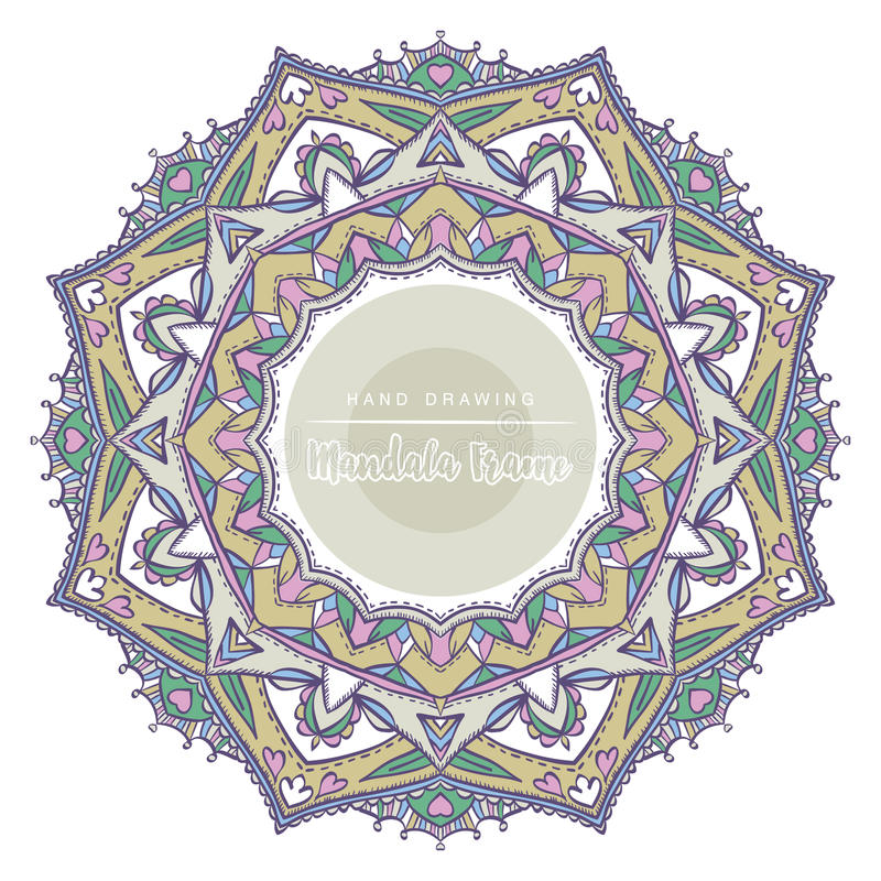 Color mandala with floral decorative elements. Patterned Design royalty free stock photography
