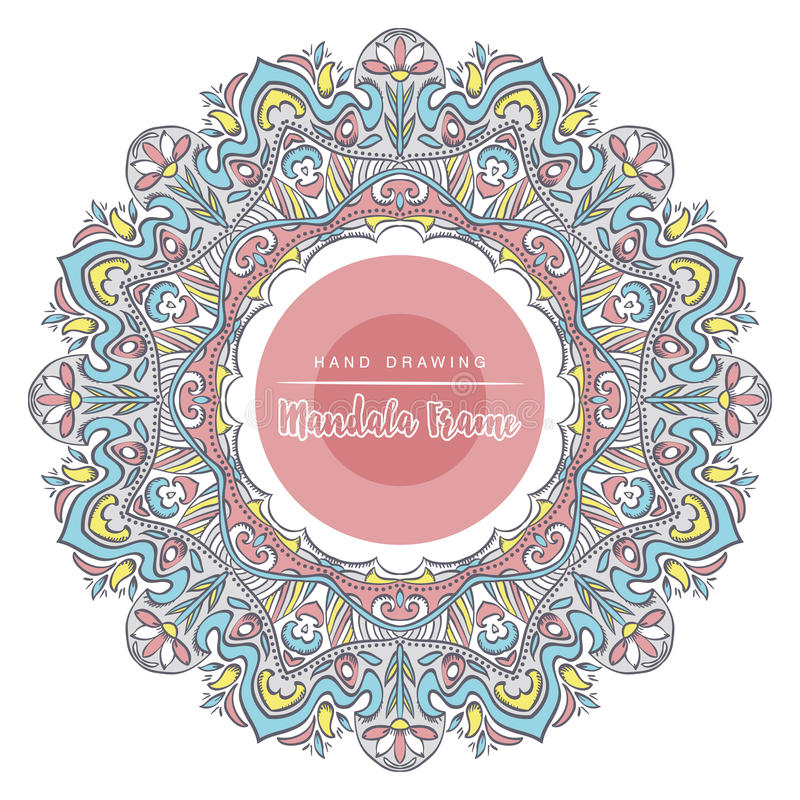 Color mandala with floral decorative elements. Patterned Design stock photo