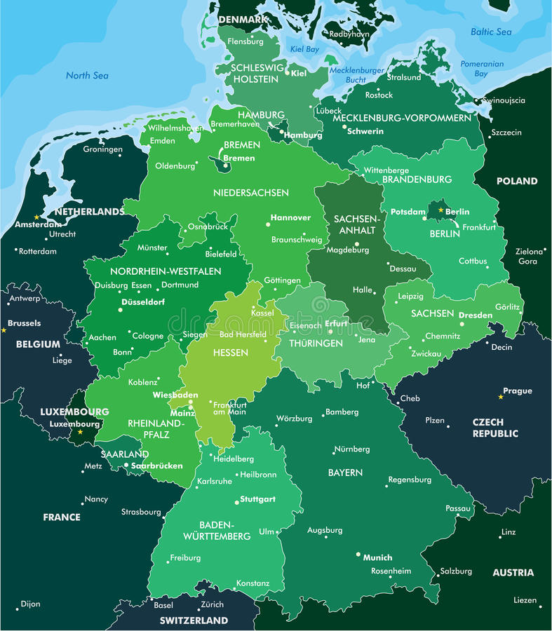 Color map of Germany royalty free illustration