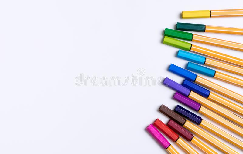 Color Marker pen line up on white paper background royalty free stock image