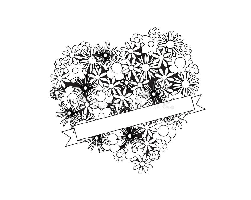 color me heart flowers ribbon coloring page adult od kids simple floral place your text