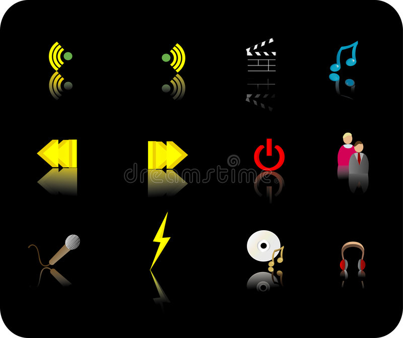 Download Color media icon set stock vector. Image of communication - 2183922