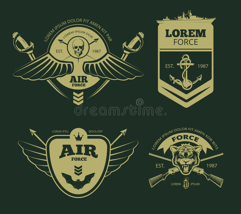 Color military vector patches vector illustration