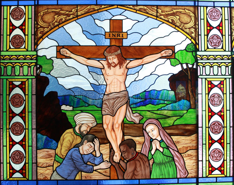 Color Mirror With Jesus Christ On The Cross Stock Photo - Image of ...