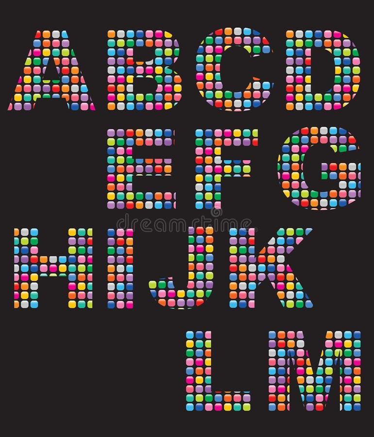 Color mosaic buttons alphabets vector illustration