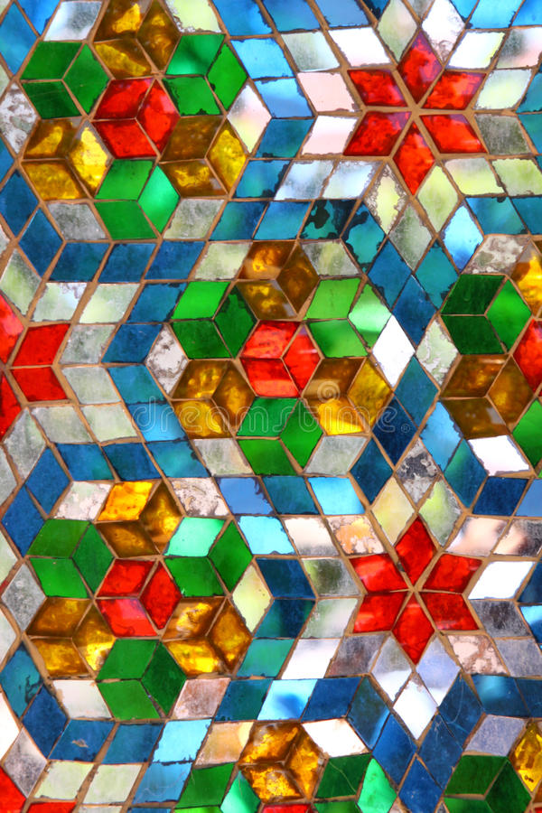 Color mosiac glass pattern stock photo