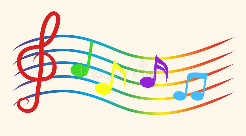 Color Notes Background 01 Vector Free Download: Color Music Notes On Staves. Vector Illustration Stock